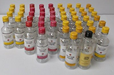 Lot 50 Empty Mini Wine Bottles with Screw Caps Great For Crafts Gold and Red