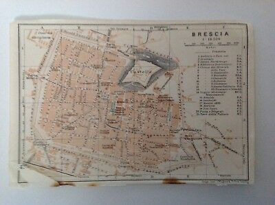Plan Of Brescia,   Italy, 1909 Antique Map, Original