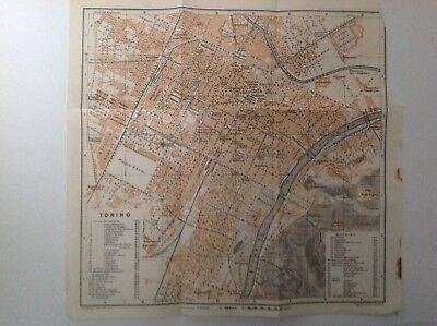 Plan Of Torino,  Italy, 1909 Antique Map, Original
