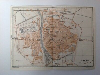 Plan Of Parma,   Italy, 1909 Antique Map, Original
