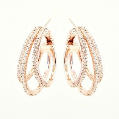 Pave Signity CZ Sterling Silver Arches Of Illusion Full Eternity Hoop Earrings