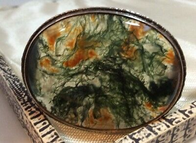 Vintage antique Jewellery Gorgeous silver and Scottish Moss Agate brooch