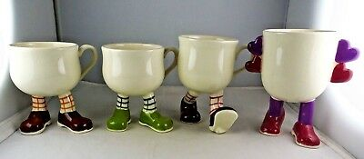 4 Carlton Ware English Lustre Pottery Walking Ware Mugs - Purple, Green, Red