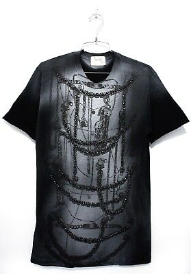 DOMREBEL DOM REBEL Vintage Necklace Chains T-Shirt Dusty Navy or White Crystals