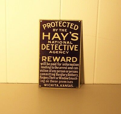 Hay's National Detective Agency Metal Sign / Plate