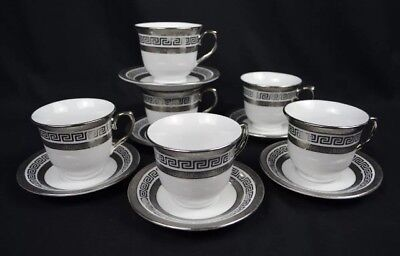 Tea Set With Silver Pattern. 6 Cups And 6 Saucers. Porcelain.