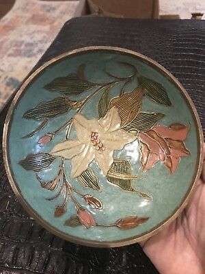 Antique Etched Hand Painted Flowers footed Brass Bowl~ Light Blue W/Pink White