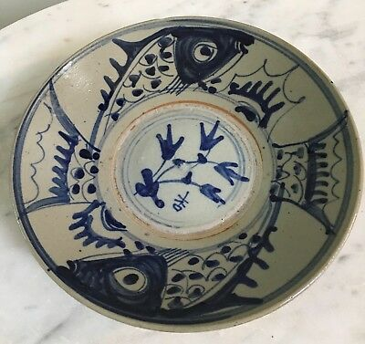 Antique Chinese Japanese Cobalt Flo Blue White Pottery Bowl Marked Fish