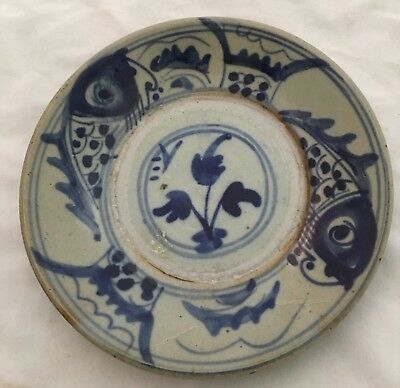 Antique Chinese Japanese Cobalt Flo Blue White Pottery Plate Marked Fish