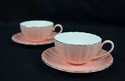 Tea Cups And Saucers Set In Pink Colour. 2 Cups And 2 Saucers. Fine Porcelain