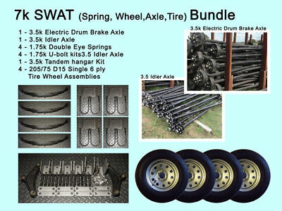 "7k SWAT-4 15"" tire wheels - 205 75D15- 2 3.5k 3500 lb 95/80"" axles -Trailer Kit"