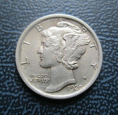 1920 USA Mercury Silver Dime - 10 Cents - Sharp High Grade, full bands