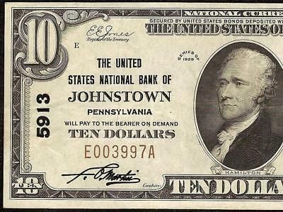 1929 $10 Dollar Bill Johnstown United States National Bank Note Currency Ch 5913