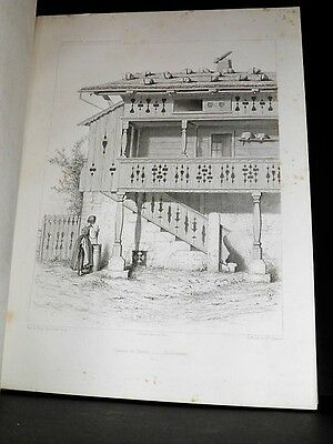 VARIN Architecture pittoresque Suisse CONSTRUCTION BOIS CHALET 48 PLANCHES 1861