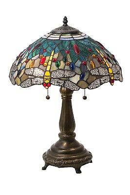 "Meyda Lighting 22""H Tiffany Hanginghead Dragonfly Table Lamp Stained Glass Decor"