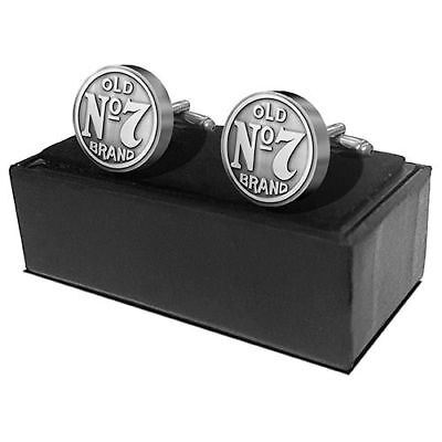 Mens Genuine Licensed Jack Daniels Old No 7 Bug Logo Cufflinks Gift Boxed Set!