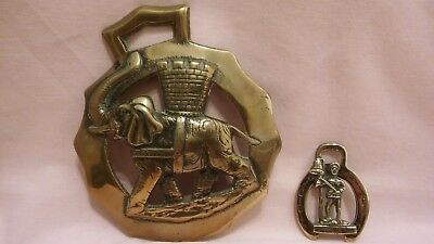 Vintage X2 Horse Brasses A Large Elephant & Castle And A Small Southwold Jac.
