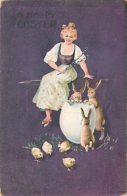Easter~Bunny Rabbits Peer Into Huge Egg Shell~Peasant Blouse Lady~Purple~Germany