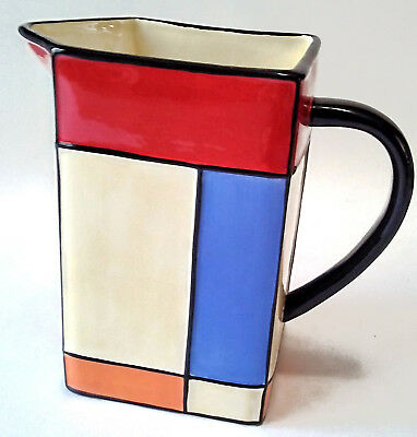 Bauhaus Mondrian Style Modern Art Water Pitcher Hand Painted Pacific Rim Jug