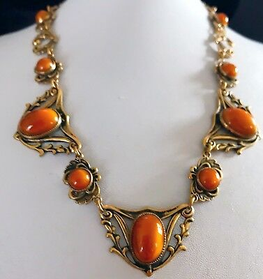 Rare Vintage Antique Victorian  Golden Stone Cabochon & Gold Necklace Jewelry Nr
