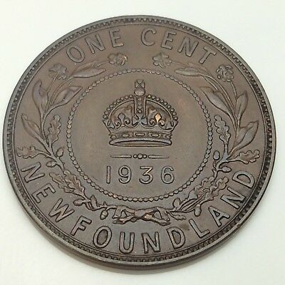 1936 Canada Newfoundland One 1 Cent Large Penny Circulated Canadian Coin D879