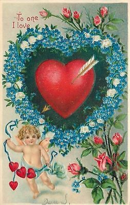 Valentine~Cupid Pulls String~Heart in Big Blue Forget-Me-Nots~Lily Valley~BW 309