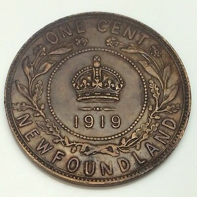 1919 Canada Newfoundland One 1 Cent Large Penny Circulated Canadian Coin D880