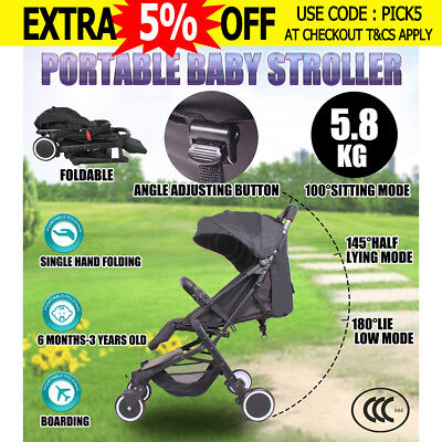 Baby Stroller Pram Compact Lightweight Jogger Carry-on Foldable 4 Wheel Black
