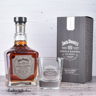 Jack Daniels Single Barrel 100 Proof Bourbon Whiskey & Matching Whiskey Glass!