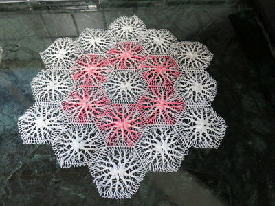 "Vintage  Doily -  White - Pink - 18"" By 16"""