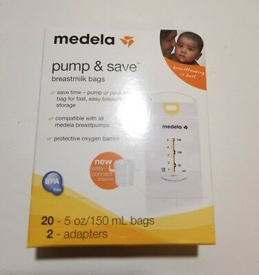 NEW! Medela Pump and Save Breast Milk bags 20 5oz Bags and 2- Adapters