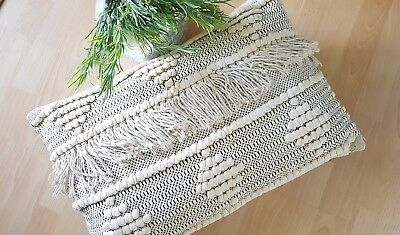 Boho/bohemian collection cotton Cream & black/patterened/textured tassel Cushion