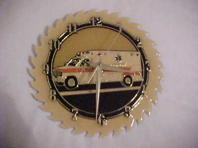 Handcrafted Saw Blade Clock Glazed Metal Battery Operated AMBULANCE