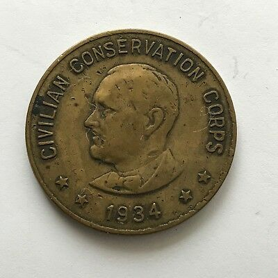 1934 Civilian Conservation Corp Member token with FDR image