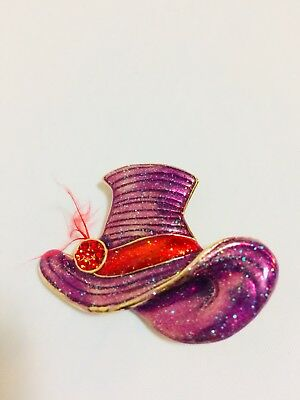 Lovely, Brooch, Sparkly Purple Hat, Red Band, Rhinestones, Feather