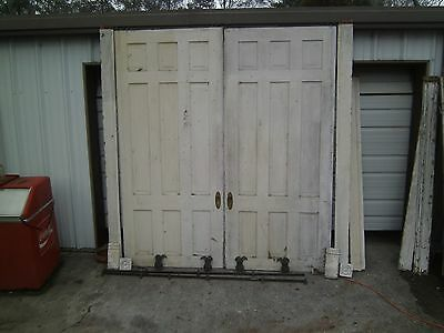 "Antique Heart Pine Pocket Doors 92"" x 44"" each Plus Hardware"