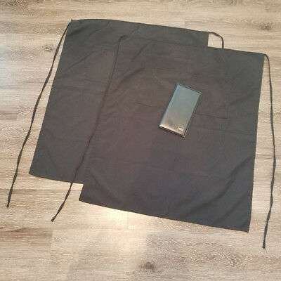 2 Server Aprons Long Two Pockets One Size Black & 1 Check Presenter (Lot of 3)