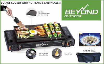 TWIN BUTANE COOKER + HOT PLATE + CARRY BAG, outdoor cooker camping portable