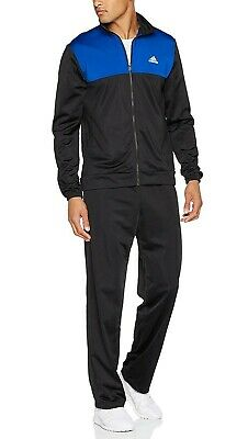 New Mens Adidas Full Tracksuit Jogging Bottoms Zip Jacket Track Top - Black Blue
