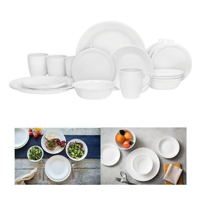 Corelle 20 Piece Livingware Dinnerware Set with StorageWinter Frost White Serv  sc 1 st  PicClick & CORELLE 20 Piece Livingware Dinnerware Set with StorageWinter Frost ...