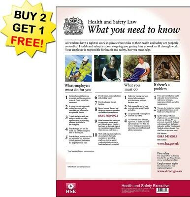 HSE Health And Safety Law Poster A3 - Latest Version Laminated BUY 2 GET 1 FREE