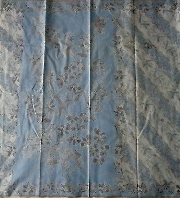 Indonesian Sarong Batik Indo-European Motif Orchids Bouquets Daffodils Faded Vtg