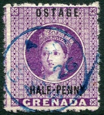 """GRENADA-1881 ½d Deep Mauve with """"Ostage"""" Variety  Sg 21c FINE USED V22048"""