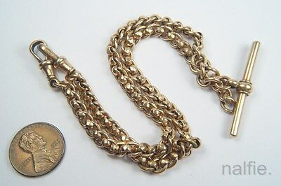 FINE QUALITY ANTIQUE ENGLISH LATE VICTORIAN 9K GOLD ALBERT WATCH CHAIN c1900