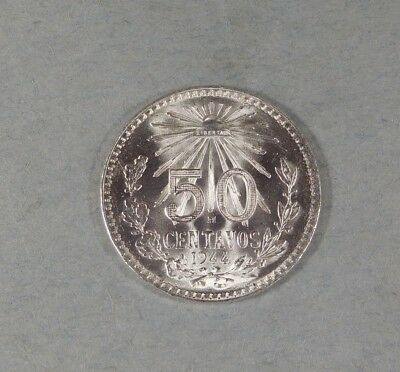 1944 MEXICO 50 CENTAVOS  - Silver - UNCIRCULATED