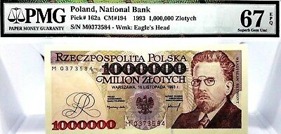 MONEY POLAND 1,000,000 ZLOTYCH 1993 NATIONAL BANK SUPERB GEM UNC PICK #162a