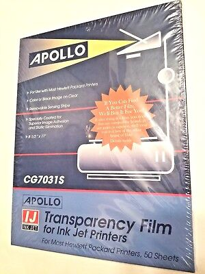 Apollo Transparency Film for Inkjet Printers CG7031S 50 Sheets 8.5 x 11,   NEW