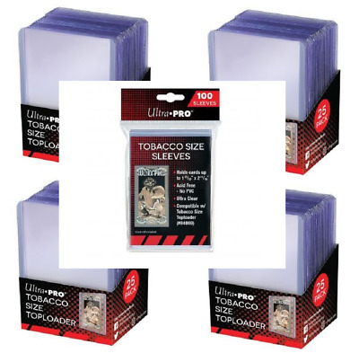 (100 Each) Ultra Pro Mini Tobacco Size Trading Card Toploaders + Sleeves Combo