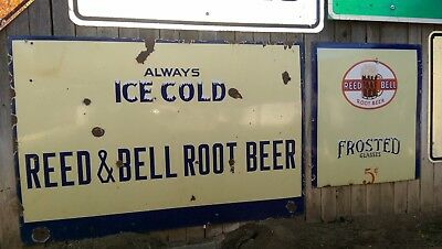 Pair Rare Large A&W Reed and Bell Root Beer 1924-1945 Porcelain Store Soda Sign