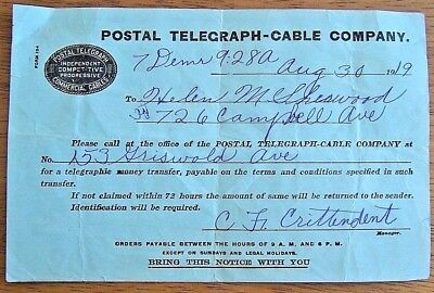 Rare 1919 Postal Telegraph-Cable Co. Telegraphic Money Transfer Form 104